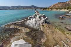 Clean Waters and  rock formations of kolymbithres beach, Paros island, Greece Royalty Free Stock Photography