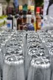 Clean wet drinking glasses at bar Royalty Free Stock Photos