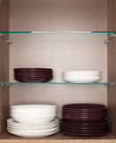 Clean white and brown dishes Royalty Free Stock Photo