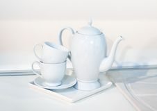 Clean white dishes Stock Images