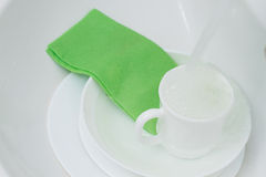 Clean white dishes Royalty Free Stock Image