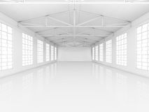 Clean white empty warehouse with windows. 3D rendering Stock Image