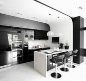Clean white european kitchen Stock Photo