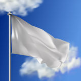 Clean white horizontal waving flag,  on sky background. Realistic vector flag mockup. Template for business. Royalty Free Stock Image