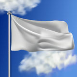 Clean white horizontal waving flag,  on sky background. Realistic vector flag mockup. Template for business. Royalty Free Stock Photo