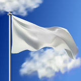 Clean white horizontal waving flag,  on sky background. Realistic vector flag mockup. Template for business. Stock Image