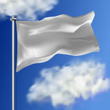 Clean white horizontal waving flag,  on sky background. Realistic vector flag mockup. Template for business. Stock Photo