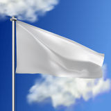Clean white horizontal waving flag,  on sky background. Realistic vector flag mockup. Template for business. Stock Photos