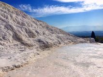 Clean-white hot spring ponds in Pamukkale. Travertine terrace.A spectacular nature geography / landform. With nature hot springs in ponds. It is a touristic Stock Image