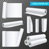 Clean White Paper Scrolls Transparent Set. Realistic set of isolated clean white paper scrolls on transparent background vector illustration Royalty Free Stock Image