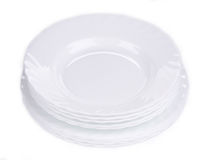 Clean white plates Royalty Free Stock Photography