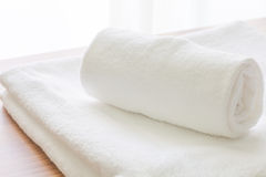 Clean white towel fold Royalty Free Stock Images