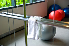 Clean white towel on a hanger. Objects for sport and leisure fitness Royalty Free Stock Photography