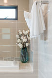 Clean white towel on hanger in modern bathroom. Design Royalty Free Stock Photography