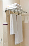 Clean white towel Stock Images
