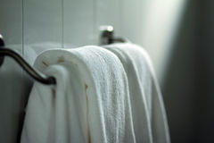 Clean white towels. A stack of clean white Turkish-style bath towels Stock Photo