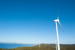 Clean Wind Farm Energy Western Australia. Wind farm along coast of Southern Ocean in Western Australia, supplying clean renewable energy to town of Albany Royalty Free Stock Image
