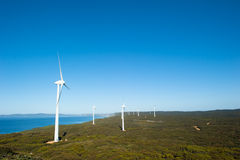 Clean Wind Farm Power Western Australia. Wind farm along coast of Southern Ocean in Western Australia, supplying renewable clean energy to town of Albany, summer Stock Photos