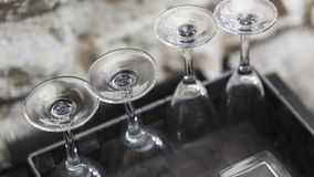 Clean wineglasses in a row Royalty Free Stock Photos
