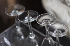 Clean wineglasses in a row Stock Photos