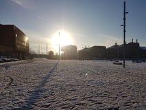 Snowy sun rise . royalty free stock photos