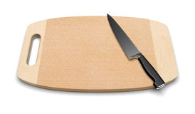 Clean wooden cutting board with knife. A clean wooden cutting board with a professional kitchen knife on a white background Stock Photo