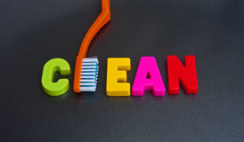 Clean. The word clean composed of colorful uppercase letters with the letter Royalty Free Stock Photo