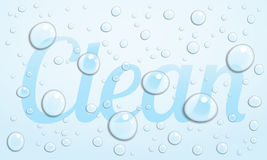 Clean. The word Clean with water droplets which distort the word beneath Royalty Free Stock Photos