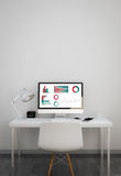 Clean workspace with finances results on computer. Clean workspace with graphics and charts on computer screen. 3d illustration Stock Images
