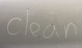 Clean written on a car Royalty Free Stock Image