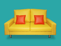Clean yellow sofa and pillows Royalty Free Stock Photo