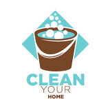 Clean your home logo label with bucket isolated on white. Clean your home logo label with brown bucket full of soap bubbles against blue rhombus isolated on Stock Image