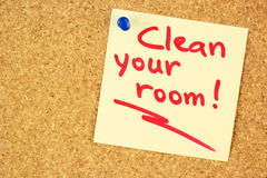 Clean your room sticker on the cork Royalty Free Stock Photos