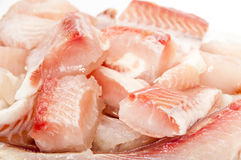 Cleaned and cut fish prepared for frying Royalty Free Stock Images