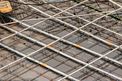 Cleaned floor slab reinforcement bar with post tension cable ten Royalty Free Stock Images