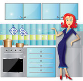 Cleaned kitchen. Illustration of the kitchen and a woman who just finished cleaning it. Now it is perfect and she is happy because of it royalty free illustration