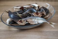 Cleaned Mackerel in Glass Plate Stock Photography