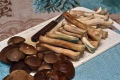 Cleaned mushrooms, legs and hats lie on the cutting board. Edible fungus grew in the forest, autumn harvesting, search, hunting. A beautiful hat and a thick leg stock images