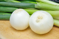 Cleaned onion and green onion Stock Photo