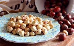 Cleaned and roasted hazelnuts Stock Photos