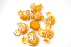 Cleaned tangerines in circle Royalty Free Stock Photography