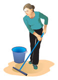 Cleaner. The nice woman washes floors, is engaged in cleaning Royalty Free Stock Photos