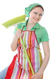 Cleaner. Cute maid cleaner woman with broom Royalty Free Stock Photography