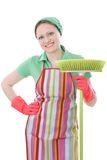 Cleaner. Cute maid cleaner woman with broom Stock Photography