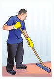 Cleaner. Male - cleaner, professional. Respect the work of cleaners Stock Images