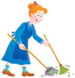 Cleaner. Isolated clipart illustration of a charwoman at work Stock Photography