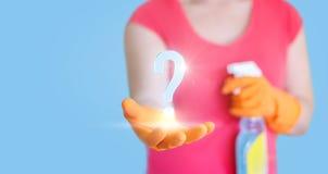 Cleaner answers questions. Cleaner answers questions concept design stock images
