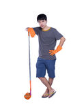 Cleaner with besom Stock Photography