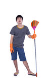 Cleaner with besom Stock Photo