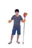 Cleaner with besom Royalty Free Stock Image